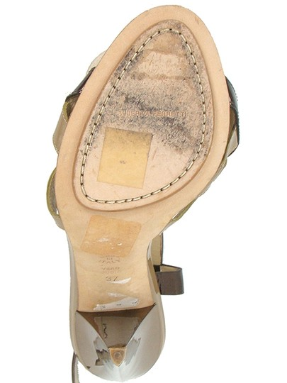 Alberta Ferretti Patent Leather Slingback Bronze Cut-out Brown and Taupe Sandals Image 4