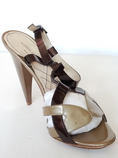 Alberta Ferretti Patent Leather Slingback Bronze Cut-out Brown and Taupe Sandals Image 5
