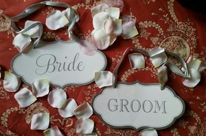 Bride And Groom Chair Signs With Ribbons Plus Bonus 14 Signs For Bridal Party