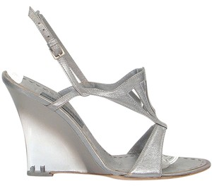Alberta Ferretti Wedge Gladiator Goddess Cut-out Silver Sandals