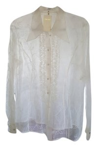 Escada Organza Crystal Buttons. On Embroidery. Ruffles. Never Worn. Brand New. European Size 42. Top White