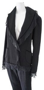 Emanuel Ungaro Emanuel Ungaro Black Wool Evening Elegant Cocktail Pant Suit Size 38