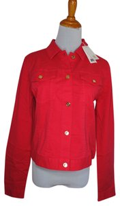 Tory Burch Cotton Spring Summer Logo Red Jacket