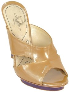 Alberta Ferretti Mule Patent Leather Two-tone Gold Mules