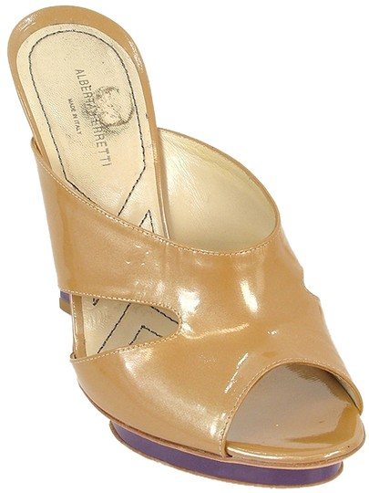 Alberta Ferretti Patent Leather Two-tone Gold Mules