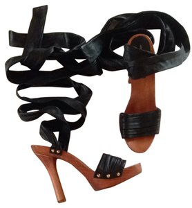 Dolce&Gabbana Dolce & Gabbana Leather Gladiator Wood Straps Italy Black Platforms