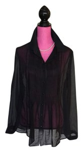 Coldwater Creek Sheer Pleated Button Down Shirt Black
