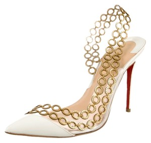 Christian Louboutin Black Patent Leather Patent Pointed Toe Stiletto Slingback New Gold Gold Hardware Clear Embellished Textured Malaika 38 White, Gold Pumps