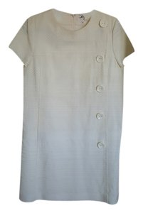 MILLY short dress Cream Milly. Cream. Textured. Size 12. Buttons. Above Knee. Short Sleeves. Pockets In Front. on Tradesy