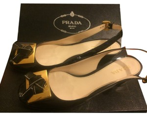 Prada Black or very very dark navy dep Flats