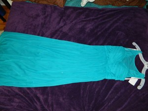 David's Bridal Oasis (teal) F15927 Long Mesh Dress With Illusion Neckline Dress