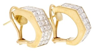 18K Yellow gold 5 carats tw Princess diamond invisibly set omega clip earrings