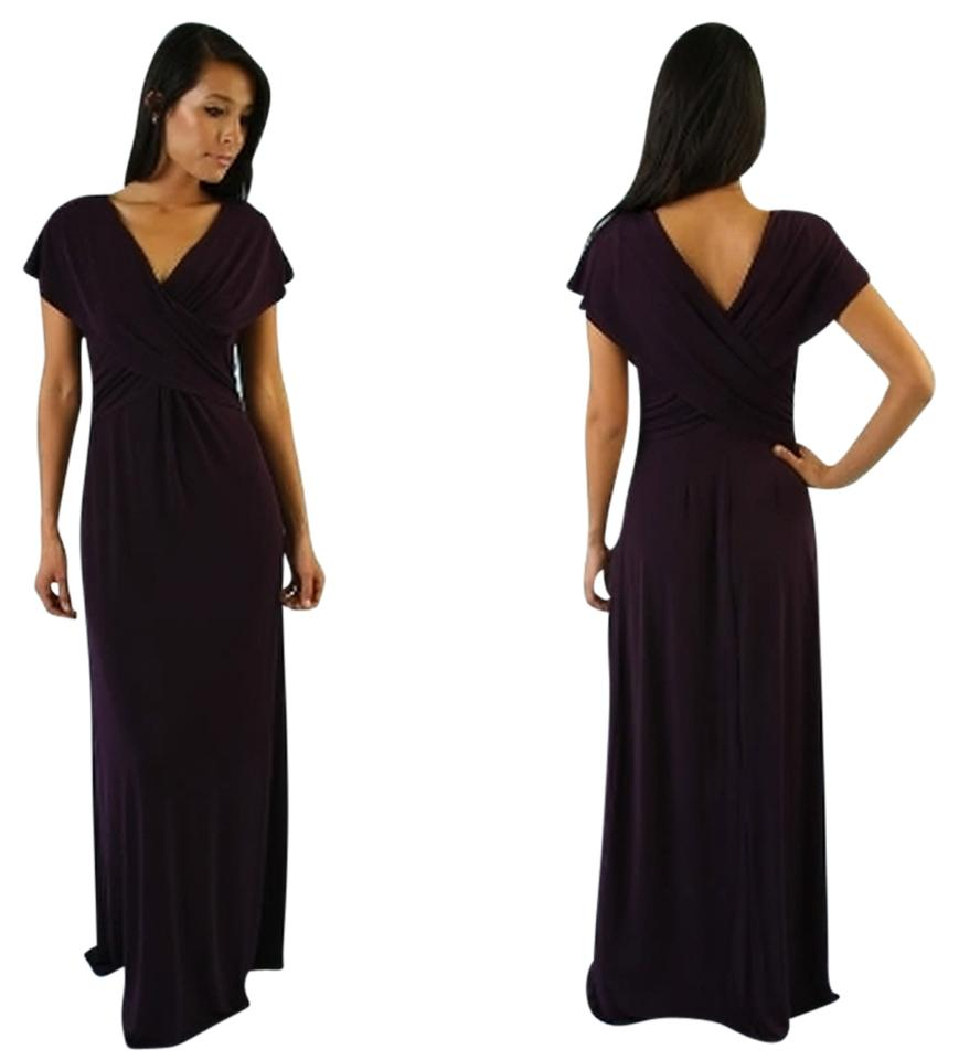 Hale Bob Purple Jersey Knit Draped V Neck Long Casual Maxi Dress ...