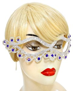 Sapphire Blue Acccent Rhinestone Crystal Cat Eyes Mask