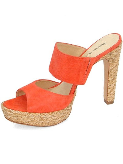 Alexandre Birman Woven Suede Orange Mules