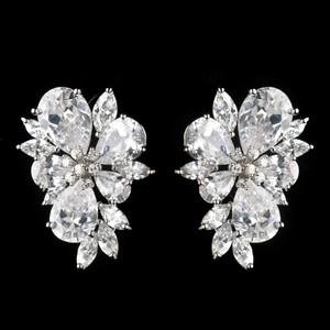 Elegance By Carbonneau Bold Cz Crystal Flower Cluster Rhodium Earrings