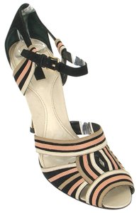 Bally Patent Leather Striped Beige and Black Sandals