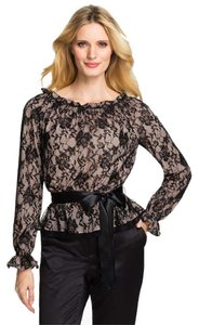 Adrianna Papell Bell Sleeve Evening Lace Romantic Feminine Top Black Lace