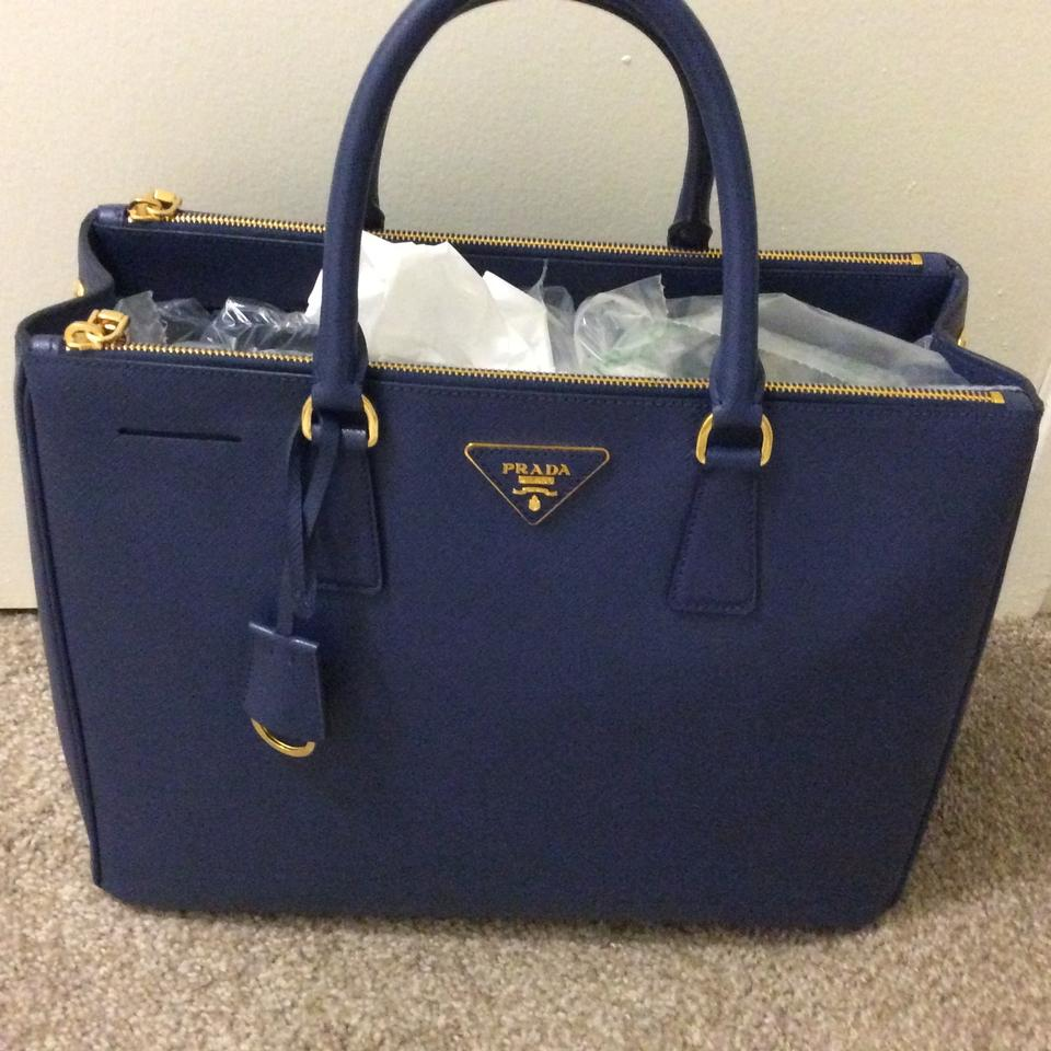 2093dc92 Prada Double Saffiano Double-zip Executive -large Blue Leather Tote 43% off  retail
