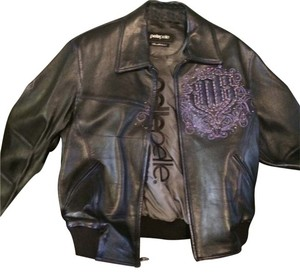 Pelle Pelle Black with purple accents Leather Jacket