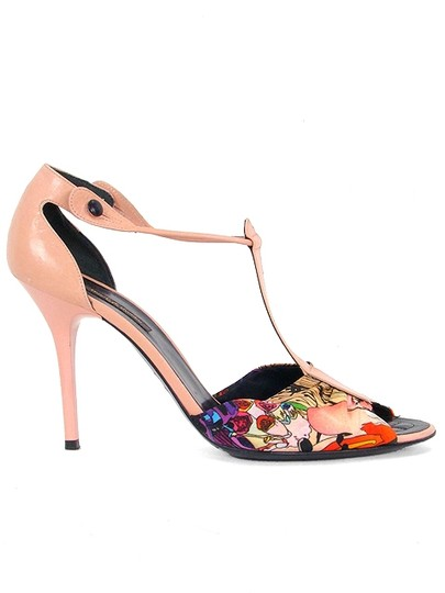 Basso & Brooke Patent Leather Floral Print Satin Stiletto Pink Sandals