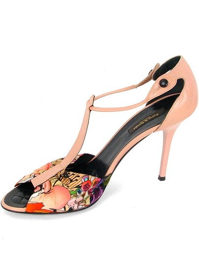 Basso & Brooke Patent Leather Floral Print Satin Stiletto Pink Sandals Image 3
