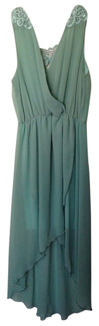 Mint Maxi Dress by Charlotte Russe Embroidered Crochet Hi Low