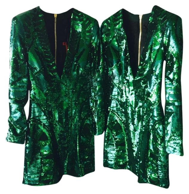 Item - Green Sequin-embroidered Mid-length Night Out Dress Size 2 (XS)