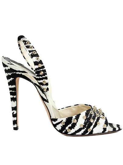 Brian Atwood Zebra Canvas Studded Slingback White and Black Sandals