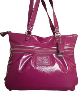 Coach Purple Leather Tote in BERRY