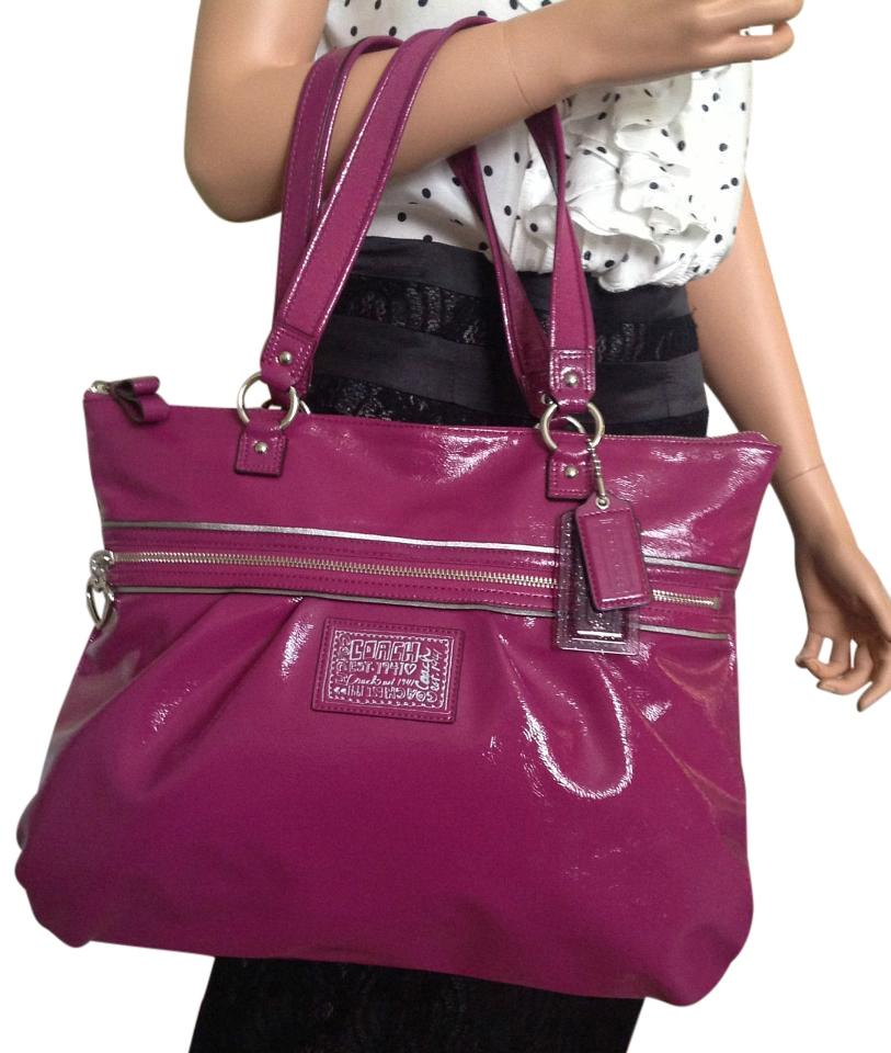 b86885ca43 Coach Poppy Purple Glam Purse Berry Patent Leather Tote - Tradesy