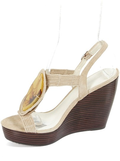 Calvin Klein Platform Stone Suede Brown and Beige Wedges