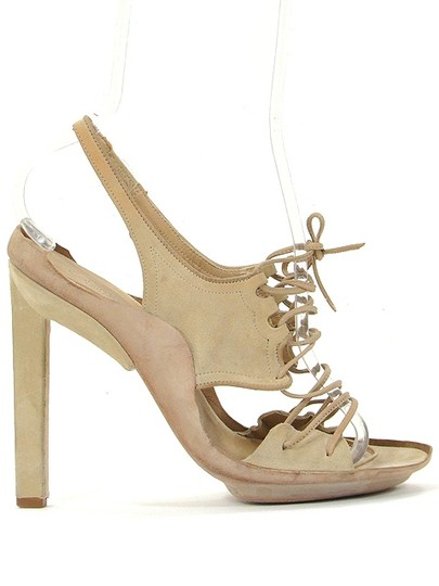 Calvin Klein Suede Lace-up Slingback Beige Sandals
