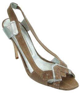 Carmen Ho Snakeskin Metallic Slingback Brown and Silver Sandals