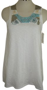 STYLE & CO Or Beach Cover Top WHITE W BLUE