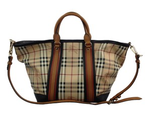 Burberry Tote in Brown, Orange and Check Classic Burberry