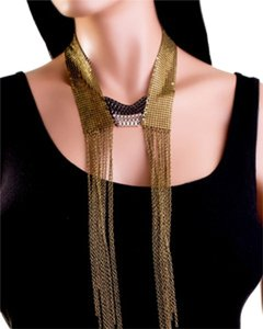 TUTTI FASHION PLATED AND DRAPED FRINGED NECKLACE