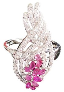 Other NATURAL! PINK RUBY & WHITE ZIRCON 925 SILVER RING SIZE 6.5