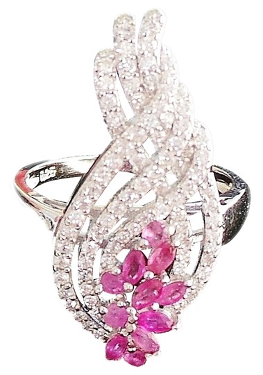 Preload https://img-static.tradesy.com/item/876883/pinkish-red-natural-pink-ruby-and-white-zircon-925-silver-size-65-ring-0-2-540-540.jpg