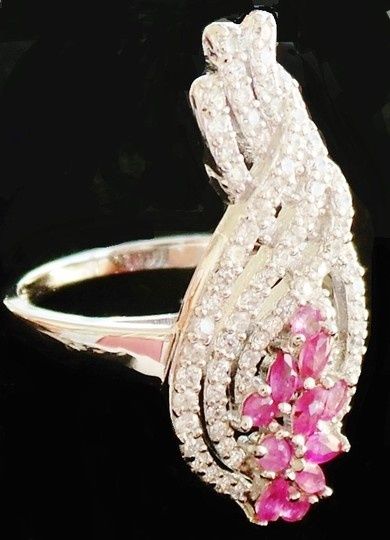 Other NATURAL! PINK RUBY & WHITE ZIRCON 925 SILVER RING SIZE 6.5 Image 1