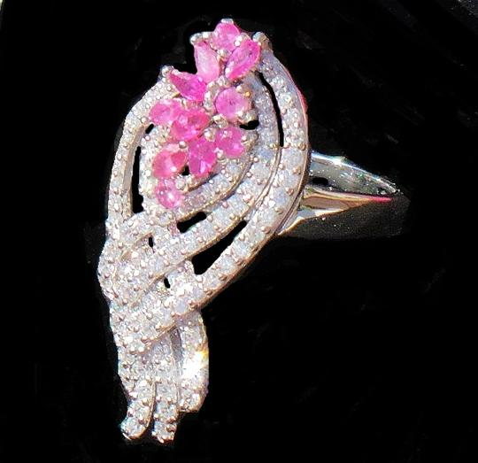 Other NATURAL! PINK RUBY & WHITE ZIRCON 925 SILVER RING SIZE 6.5 Image 3