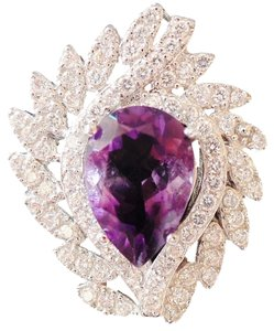 Other NATURAL! PURPLE AMETHYST & ZIRCON 925 STERLING SILVER RING 7