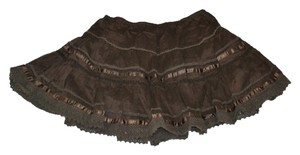 Fire Ruffles Bohemian Adorable Mini Skirt brown