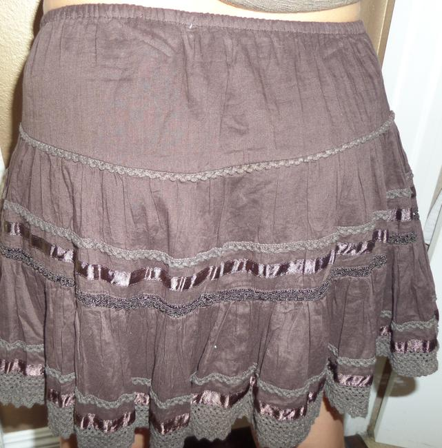 Fire Ruffles Bohemian Adorable Feminine Cute Mini Summer Spring Innocent Boho Mini Skirt brown