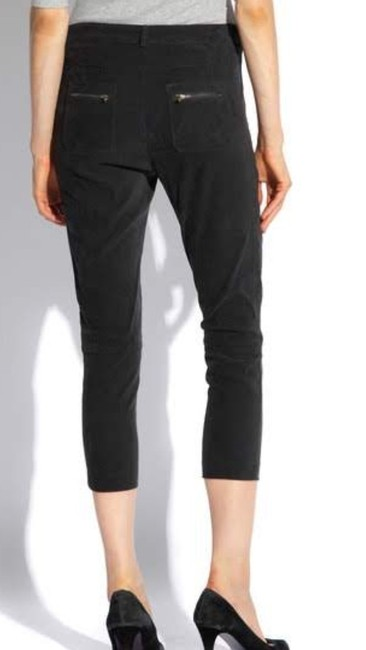 James Jeans Cropped Trouser New Black Zipper Pants Capris Chrome