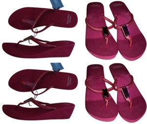 "Vera Wang Wedge Heel 2"" Gem Crystal Slip On Thong Flip Flops Summer burgundy Sandals"