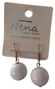 Nena White ball drop earrings