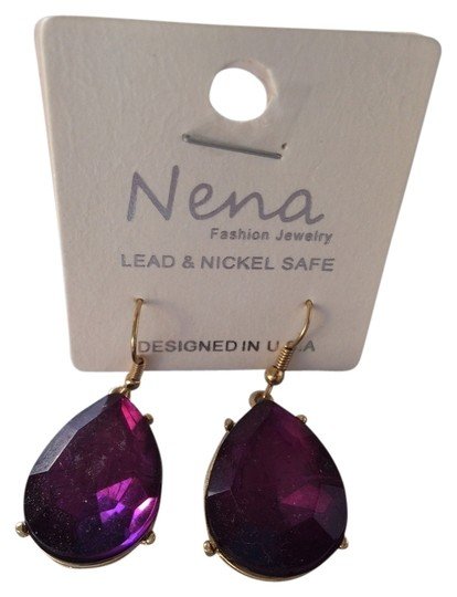 Nena Purple Jeweled Drop Earrings