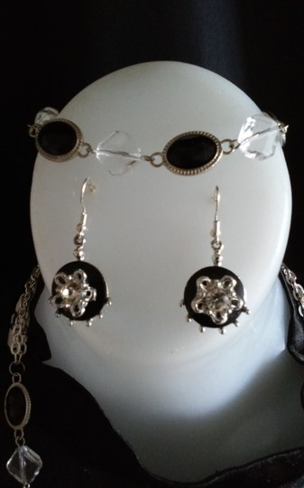 Other Black & Clear Glass Pendant Necklace Set