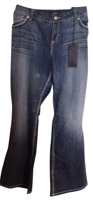 Item - Blue Medium Wash Premium Relaxed with Embellished Pockets Boot Cut Jeans Size 22 (Plus 2x)